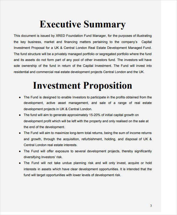 capital investment funding proposal