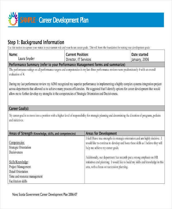 career development plan sample