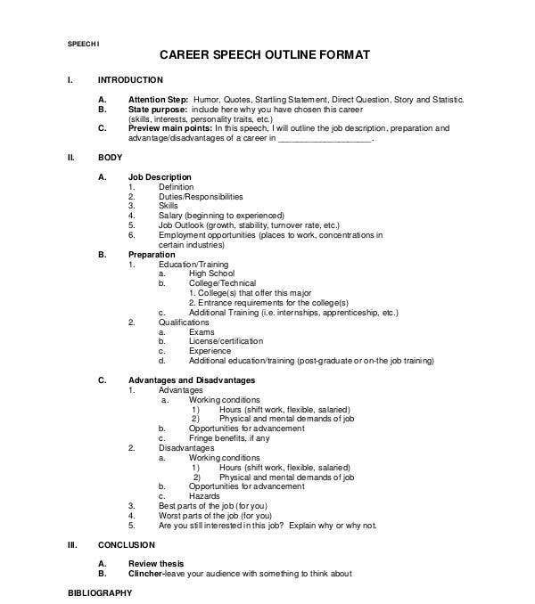 career speech outline format example