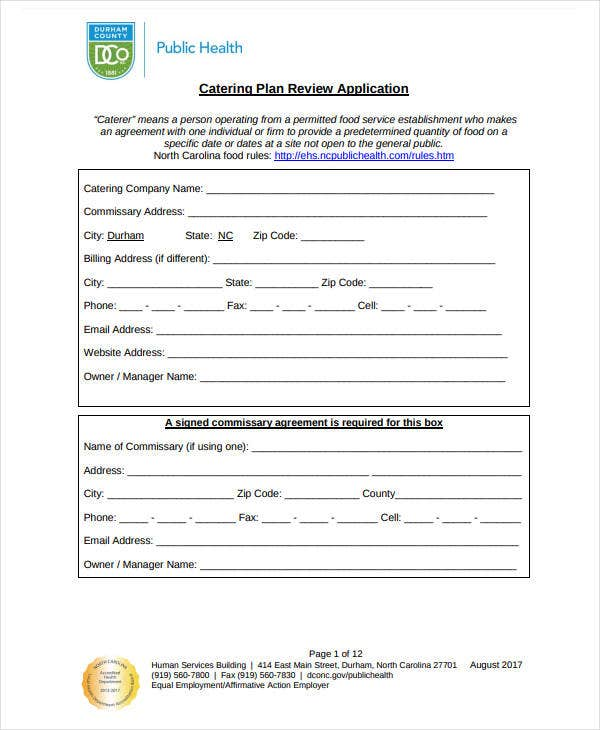 catering plan review application