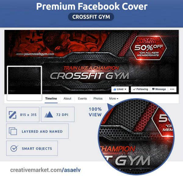 Champion Crossfit Gym Cover Template