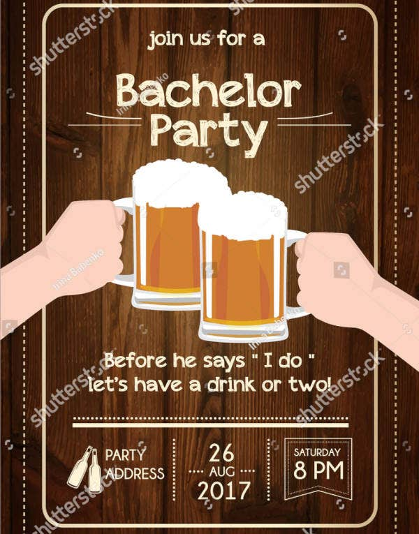Cheers Bachelor Party Invitation Template