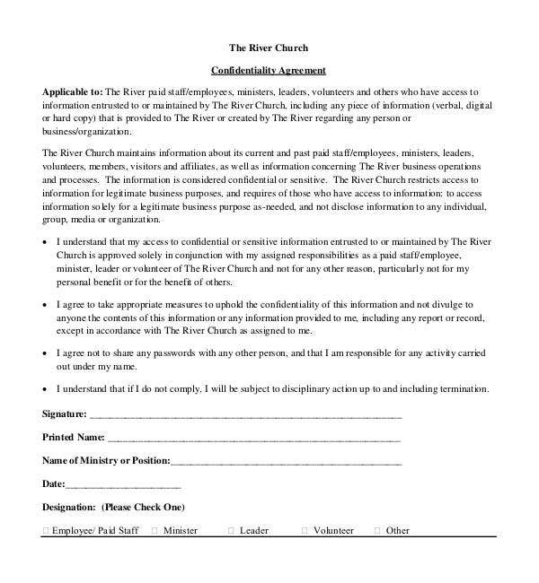 church generic confidentiality agreement