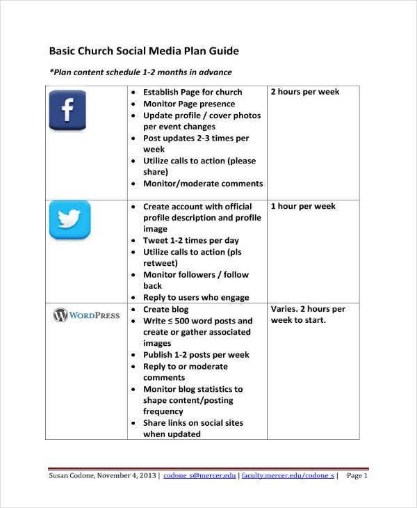 Church Social Media Marketing Plan