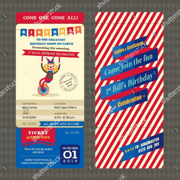 Circus Birthday Boarding Pass Invitation