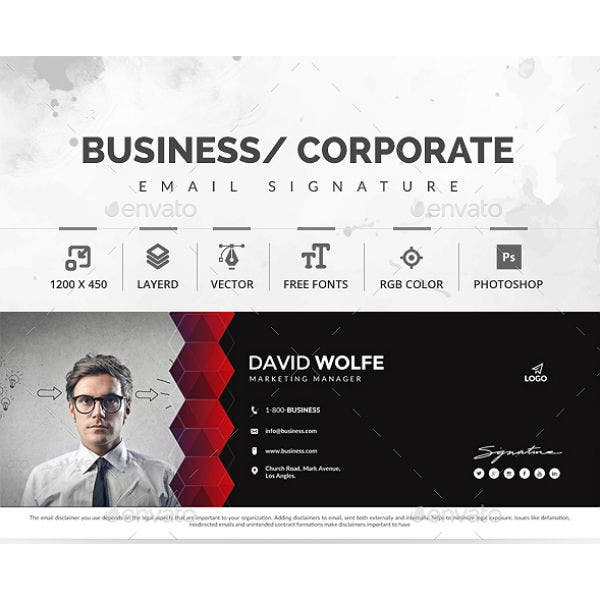 clean marketing manager email signature template
