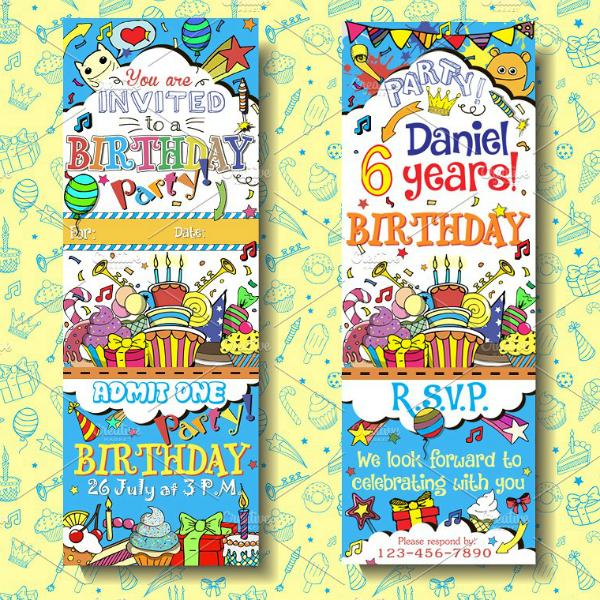 Colorful Birthday Boarding Pass Invitation