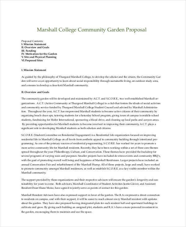 community garden project proposal
