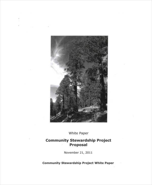community stewardship project proposal