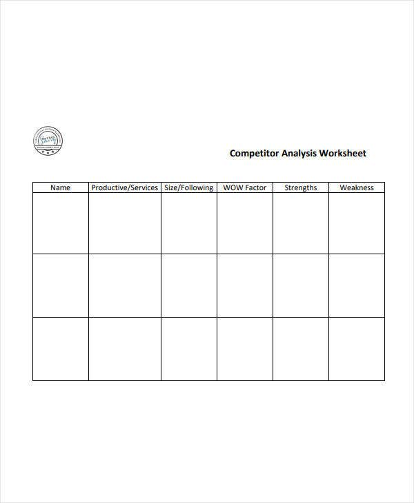 competitive analysis worksheet template
