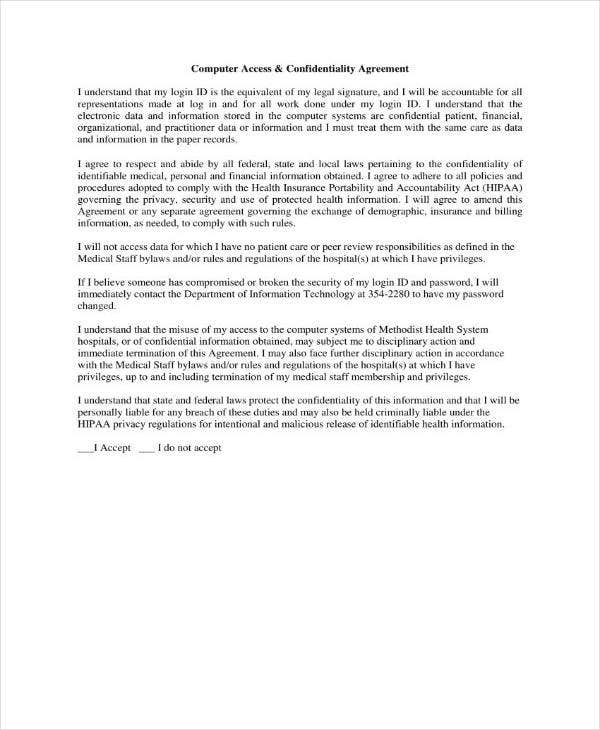 Computer Access Confidentiality Agreement Example