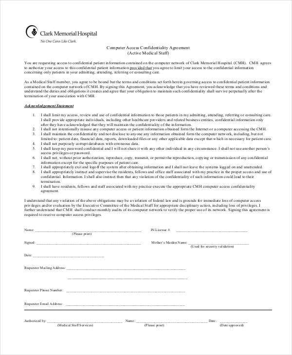 computer access confidentiality agreement