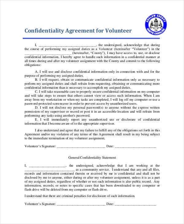 computer confidentiality agreement for volunteer
