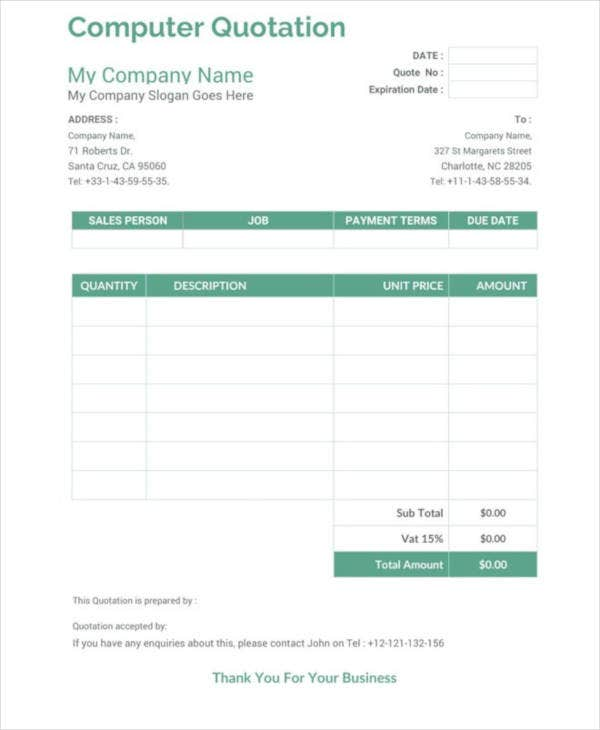 computer price quotation word template
