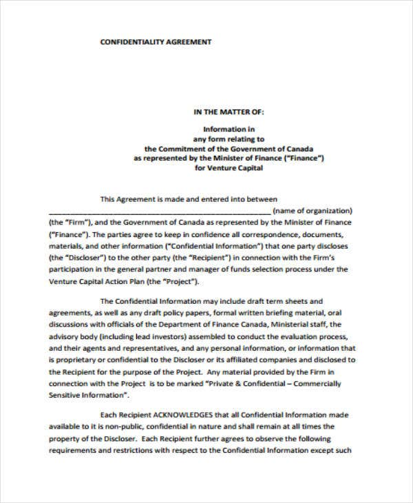 confidentiality agreement sample format