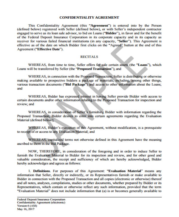 Financial Confidentiality Agreement Templates PDF Free - Financial confidentiality agreement template