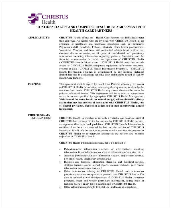confidentiality and computer resources agreement