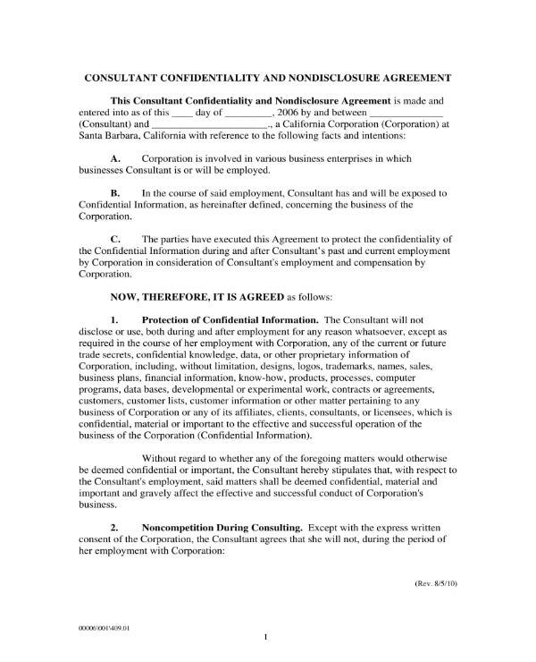5 Confidentiality Agreement Templates For Consultants Pdf Word