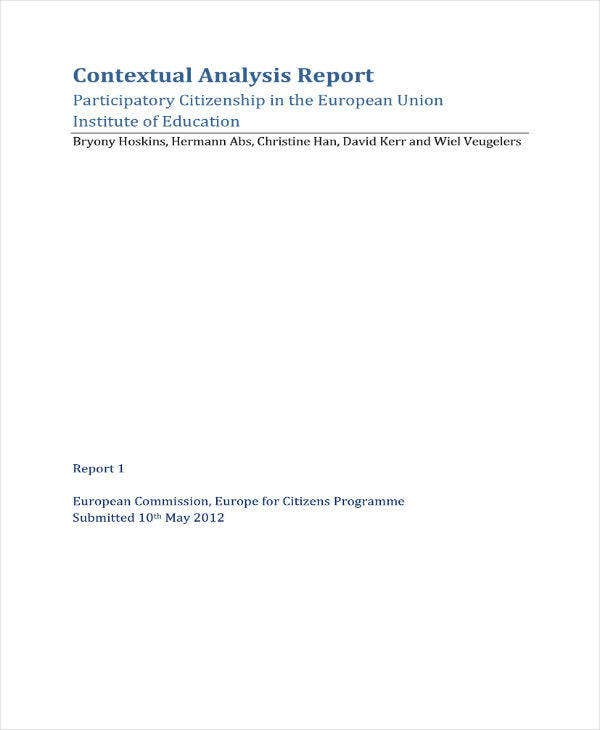 Contextual Analysis Report Sample
