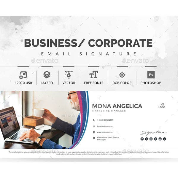 corporate marketing manager email signature template