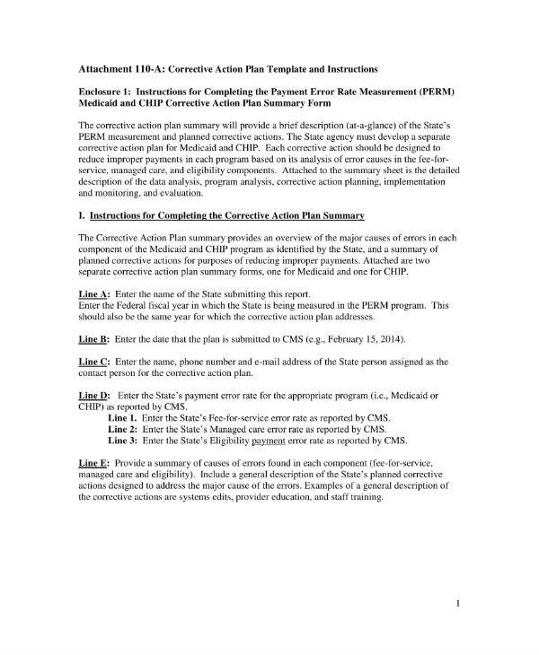 corrective action template and instructions