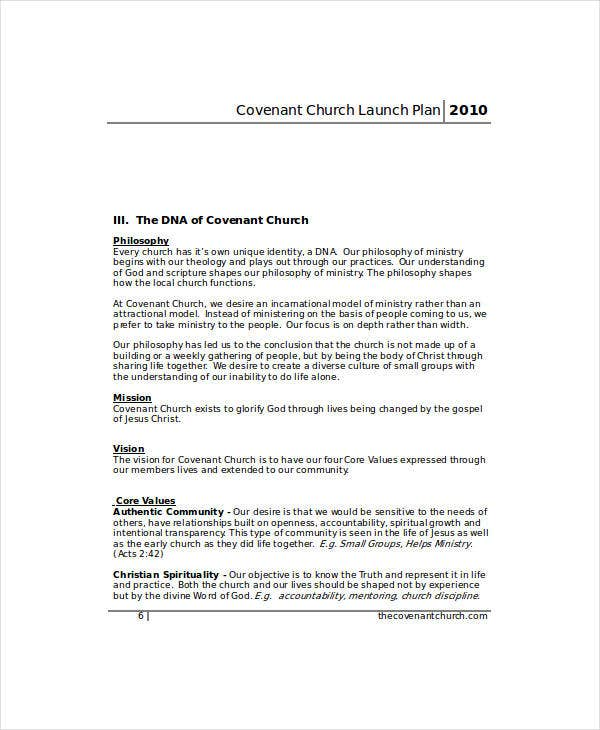 covenant church launch marketing plan