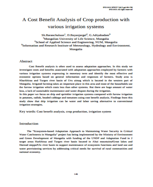 crop production cost benefit analysis
