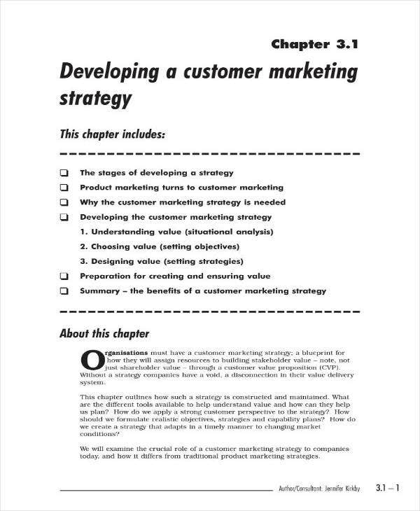 Customer Marketing Action Plan