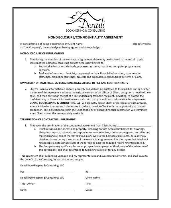 dbc-bookkeeping-nondisclosure-agreement-template