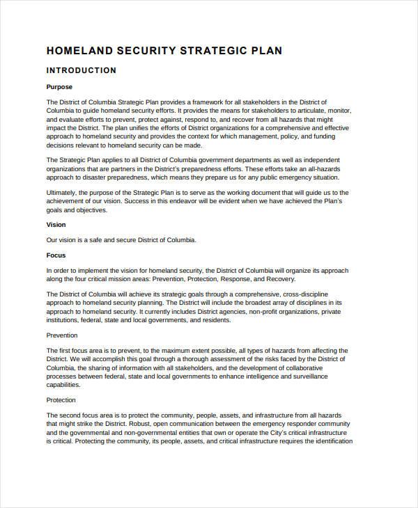 dc homeland security strategic plan