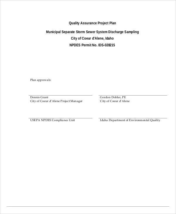draft quality assurance project plan