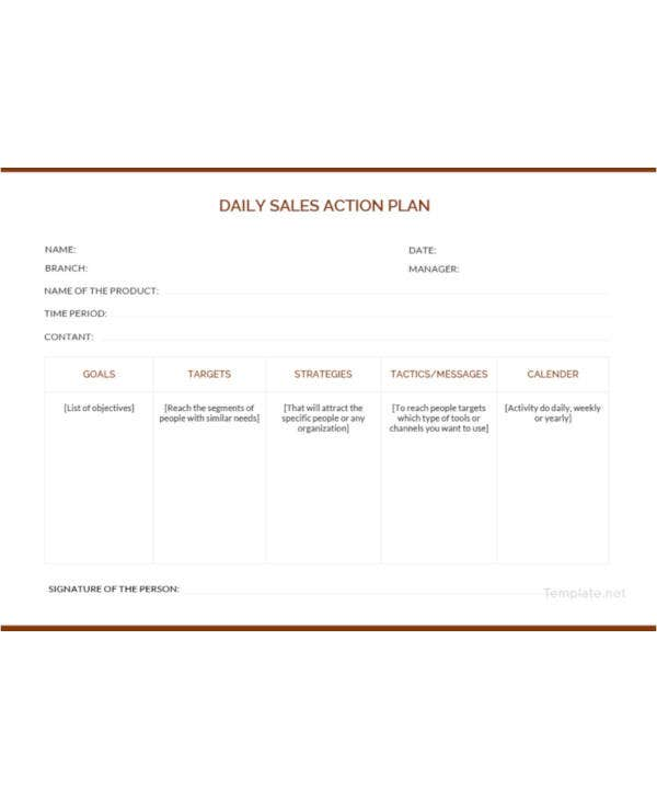 daily sales action plan template1
