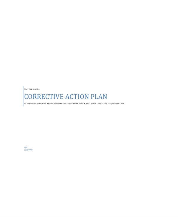 department of health and human services corrective action plan sample