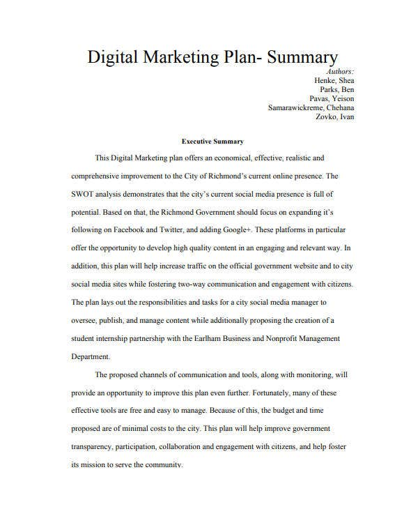 digital marketing plan executive summary
