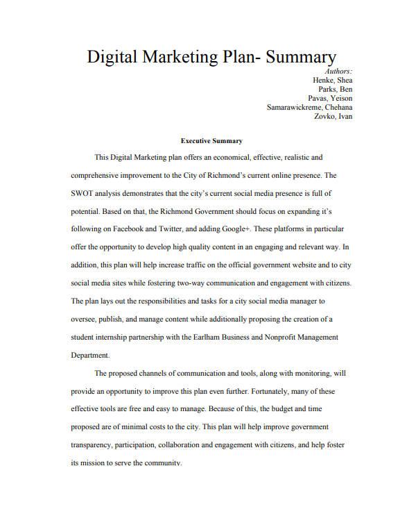7 Executive Summary Marketing Plan Templates Pdf Word