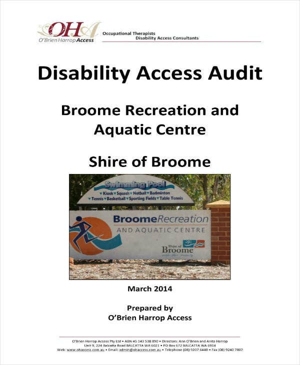 Disability Access Audit Report Sample
