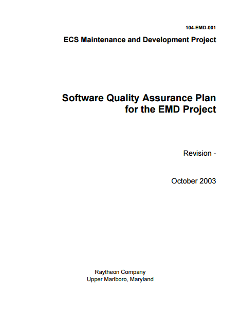 emd project software quality assurance plan