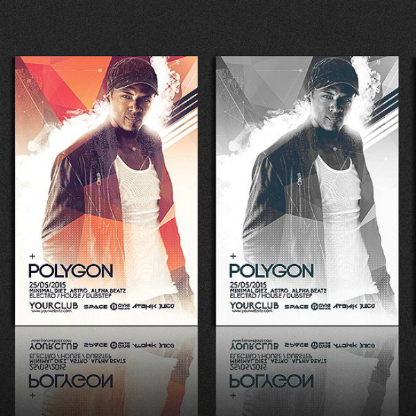 Electro Party Polygonal Flyer Template