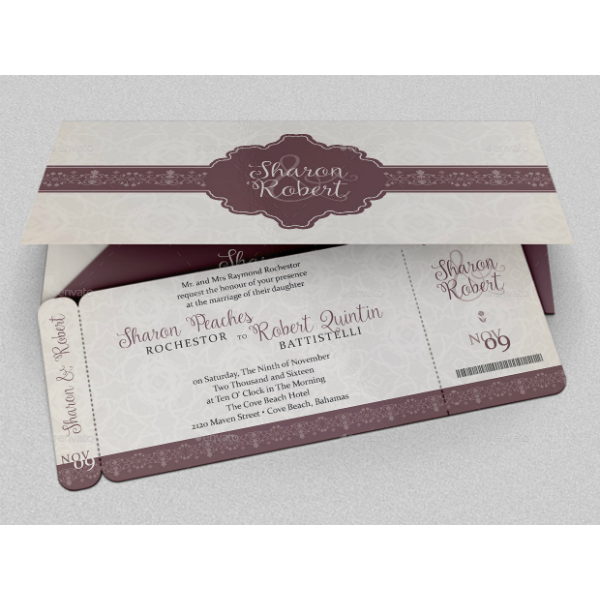 Elegant Wedding Boarding Pass Ticket