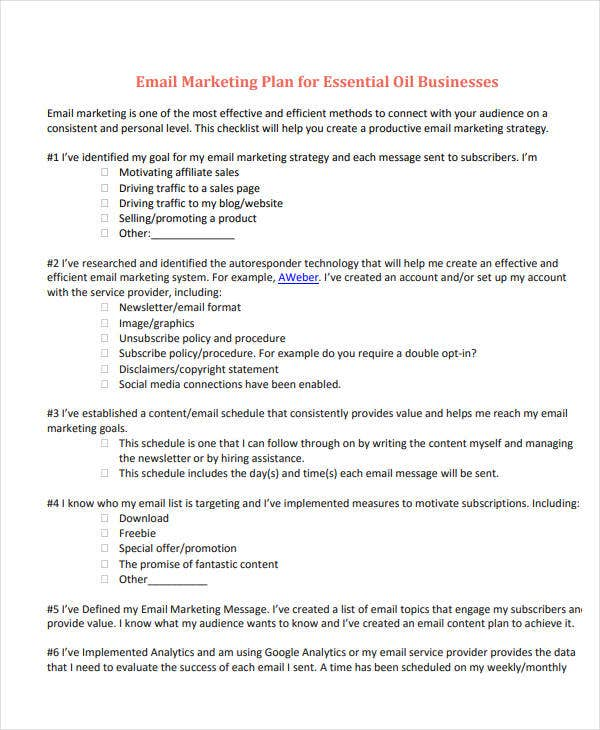 email marketing plan for businesses