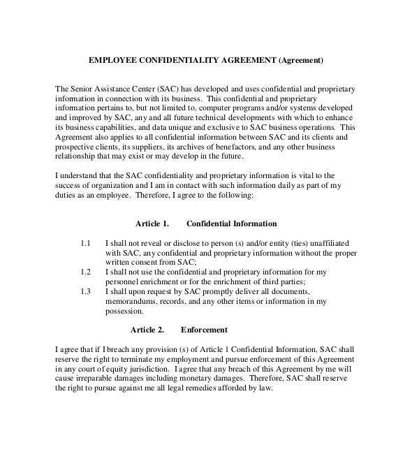 employee generic confidentiality agreement