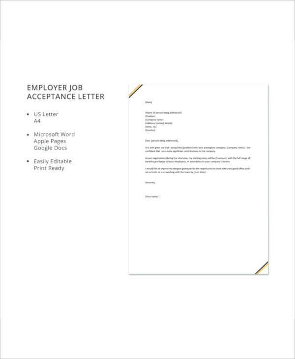 employer job acceptance letter