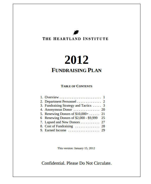 example fundraising plan