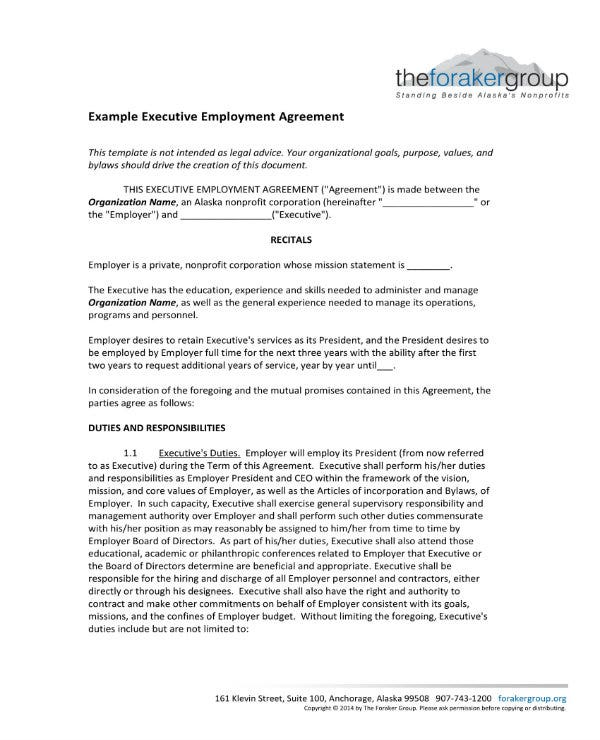 example of executive employee agreement 1