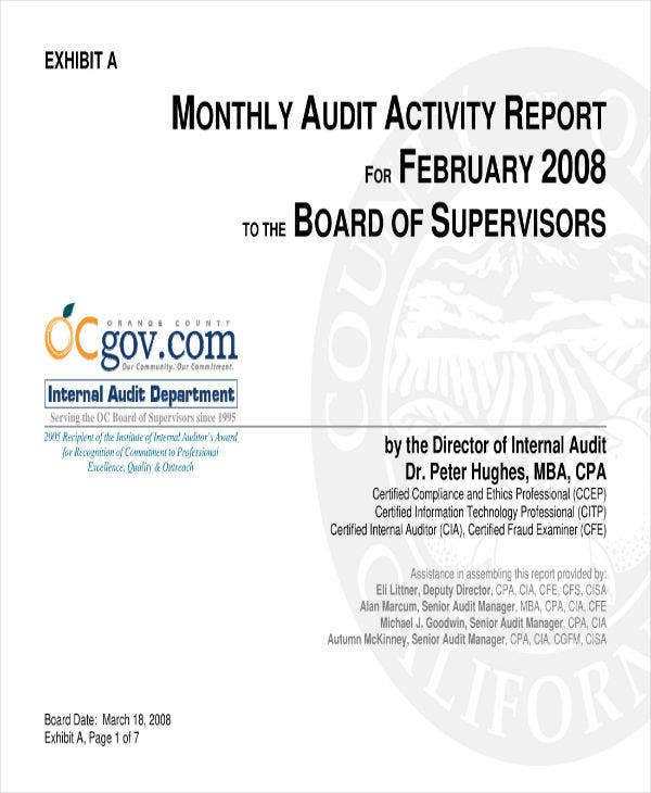 11+ Monthly Audit Report Templates - PDF | Free & Premium