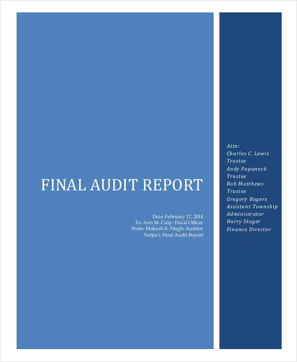 final audit monthly report
