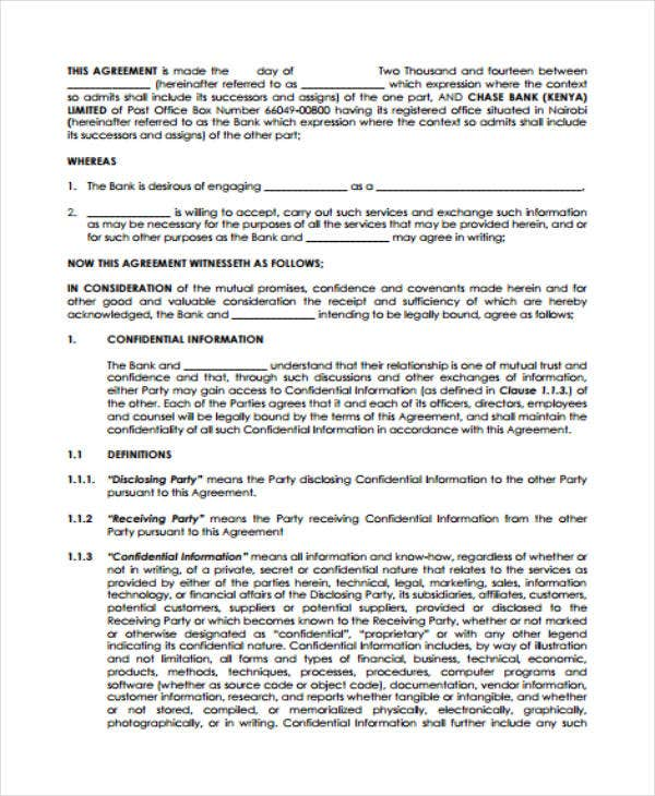 financial confidentiality agreement sample