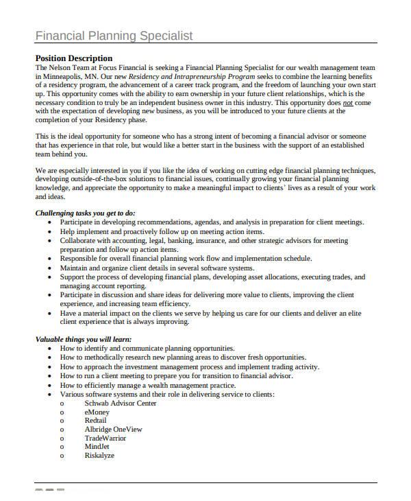 financial planning specialist plan
