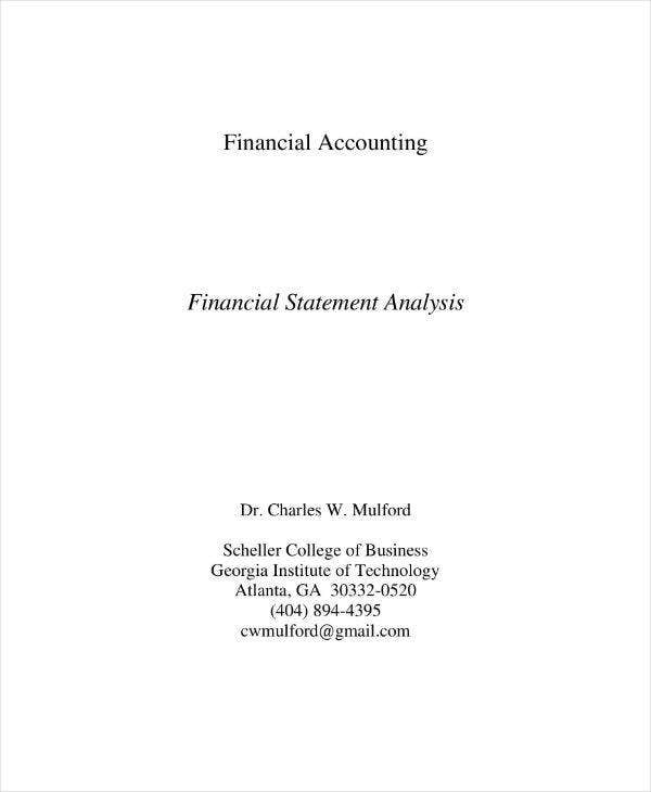 financial statement analysis sample