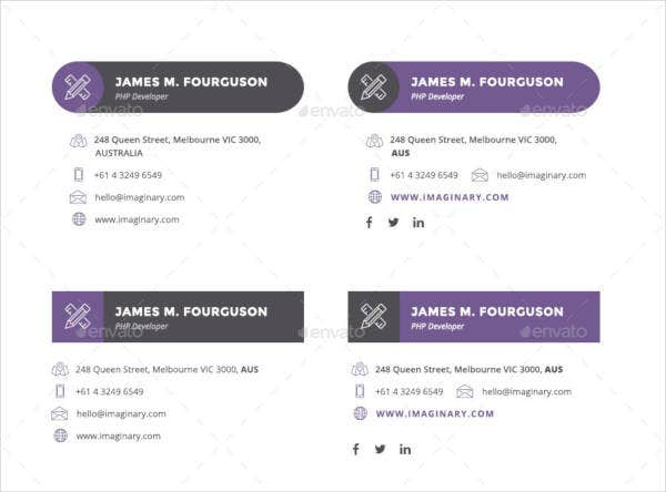 flat themed professional email signatures